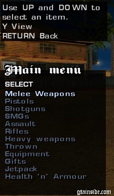 cheat menu gta sa