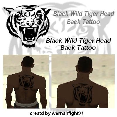 Wild Black Tiger Head Back Tattoo