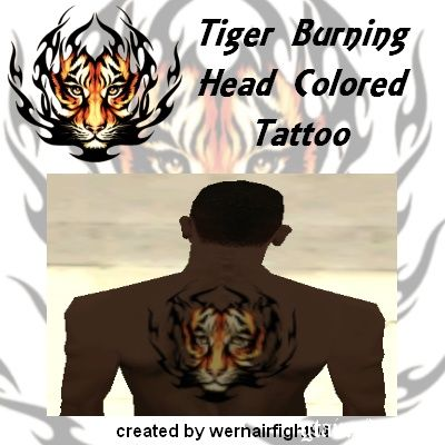 Burning Tiger Head Colored Tattoo