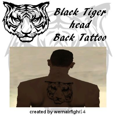 Black Tiger Back Tattoo