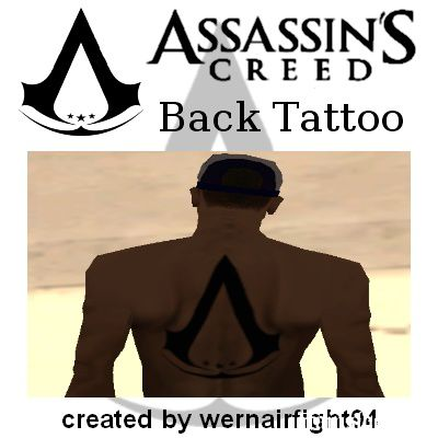 Assassins Creed Black Back Tattoo