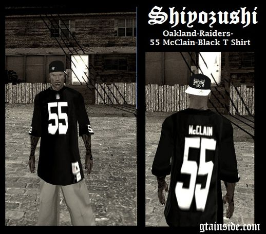 Oakland Raiders 55 McClain Black T-Shirt