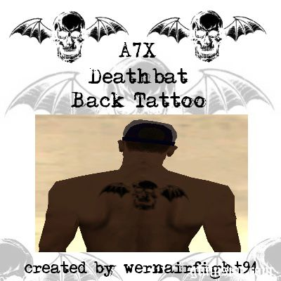 A7X Deathbat Back Tattoo
