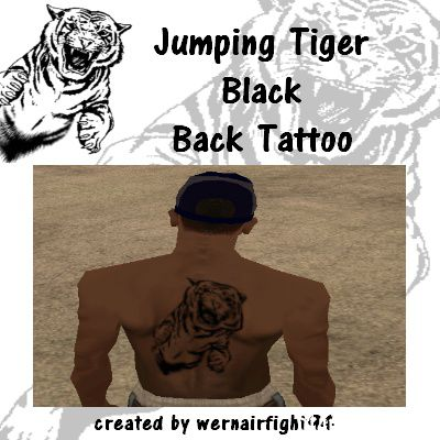 Jumping Tiger Black Back Tattoo