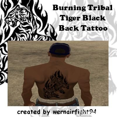 Burning Tribal Tiger Black Back Tattoo