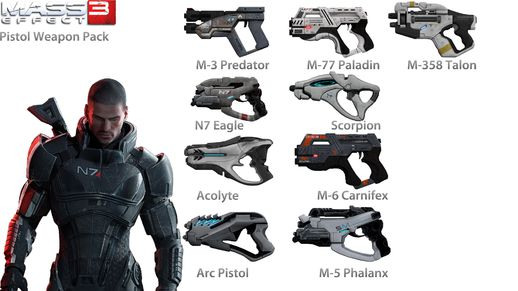 Mass Effect 3 Pistol Weapon Pack
