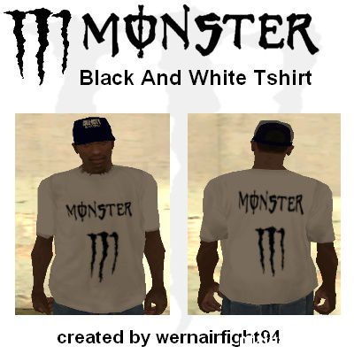 Monster Black And White T-Shirt