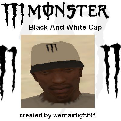 Monster Black And White Cap