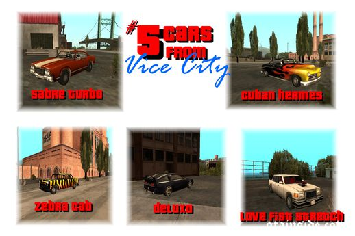 SA Conversion - 5 Cars From Vice City