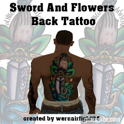 Sword And Flowers Back Tattoo