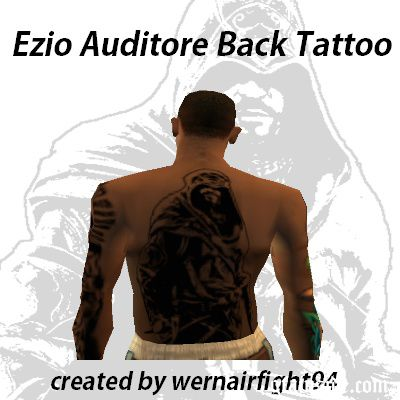 Ezio Auditore Back Tattoo