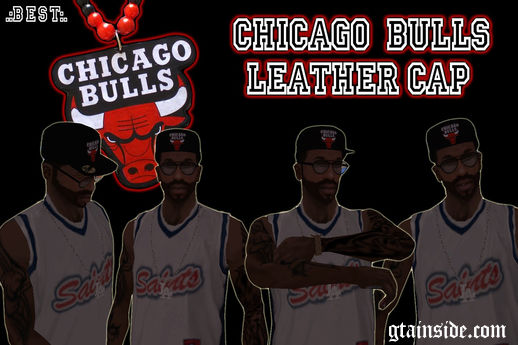 Black CHICAGO BULLS Leather Cap