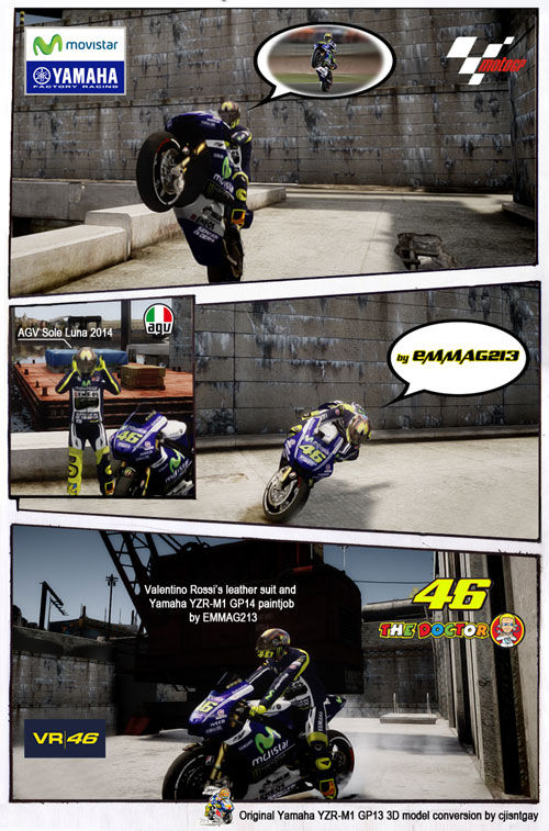 Valentino Rossi's Yamaha M1 2014 Paintjob & Leather Suit