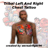 Tribal Left And Right Chest Tattoo