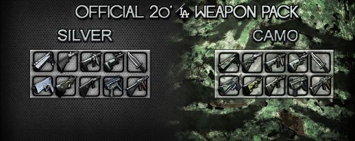 SILVER/CAMO 20'LA Weapon Pack