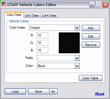 GTA IV Vehicle Colors Editor v1.2