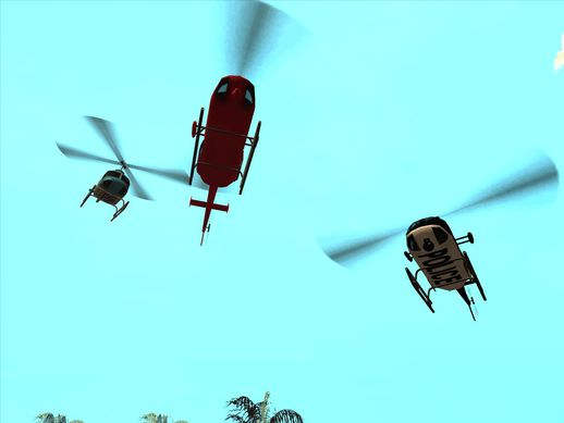 Three Helicopters with Rotor Blur