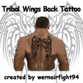 Tribal Wings Back Tattoo