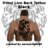 Tribal Lion Back Tattoo Black