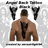 Angel Back Tattoo Black