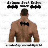 Batman Back Tattoo Black