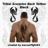 Tribal Scorpion Back Tattoo Black