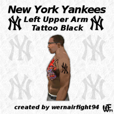 New York Yankees Left Upper Arm Tattoo Black