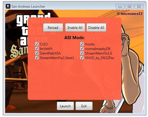 San Andreas Launcher - ASI Select - Fixed