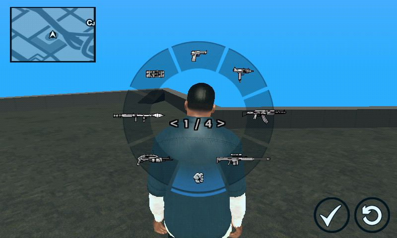 GTA San Andreas GTA V Weapon Scrolling for Android Mod