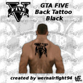 GTA Five Back Tattoo Black