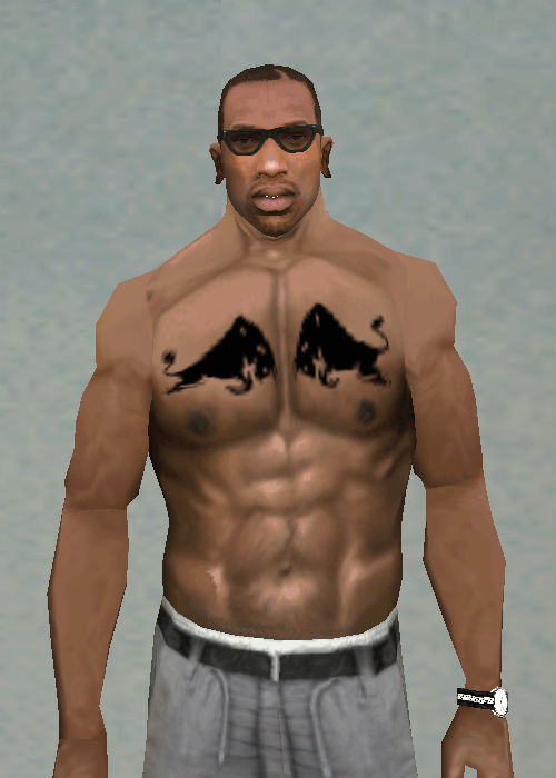 GTA San Andreas Two Black Bulls Left And Right Chest