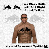 Two Black Bulls Left And Right Chest Tattoo