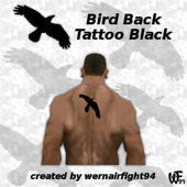 Bird Back Tattoo Black