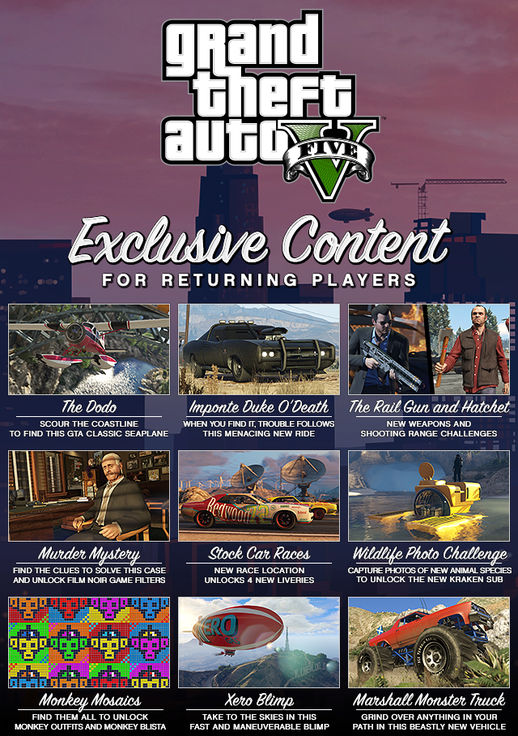 Exclusive Content for Returning GTAV - Unlocker