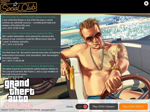 GTA V 1 Click Mod On/Off Launcher v1.1