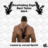 Breathtaking Eagle Back Tattoo Black