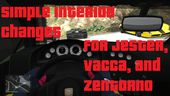 Simple Interior Changes for Jester, Vacca, and Zentorno