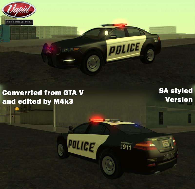 GTA San Andreas GTA V Vapid Police Interceptor V2 Mod