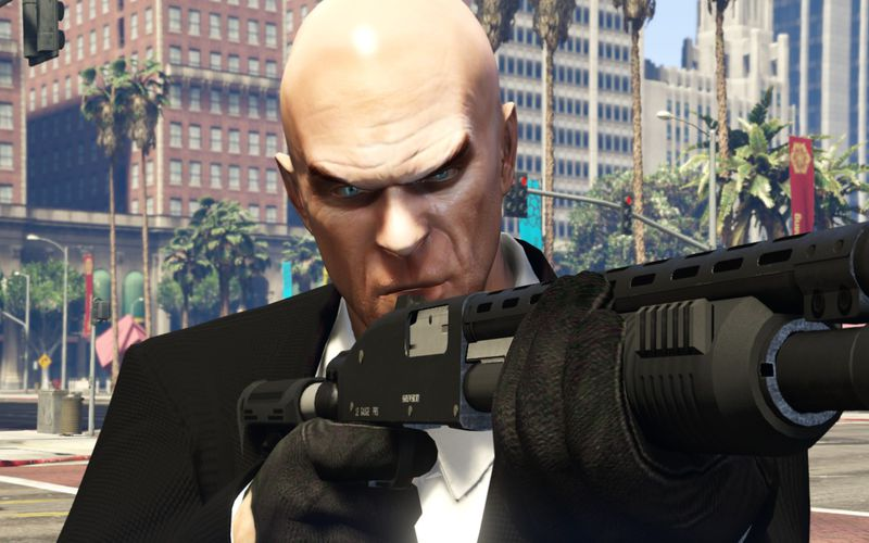 gta 5 agent 47 hitman replacement for michael trevor and