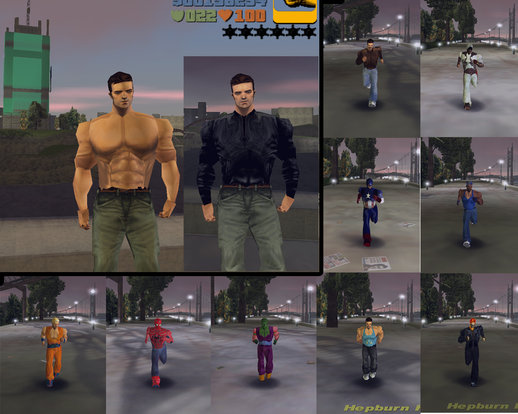 Claude Shirtless + Skins GTA III