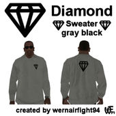 Diamond Sweater Gray Black