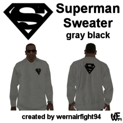 Superman Sweater Gray Black