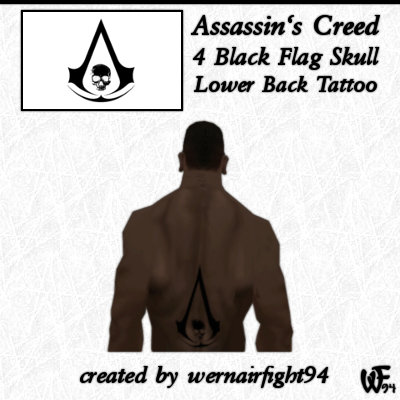 Assassin's Creed 4 Black Flag Skull Lower Back Tattoo