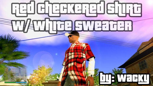 Red Checkered Shirt with White Sweater