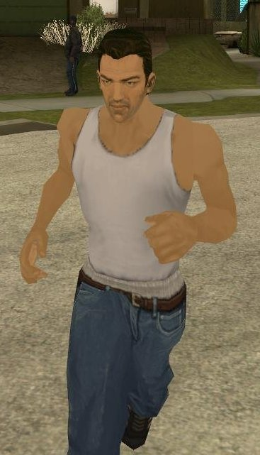 Tommy Vercetti in Carl's clothes