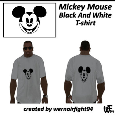 Mickey Mouse Black And White T-shirt