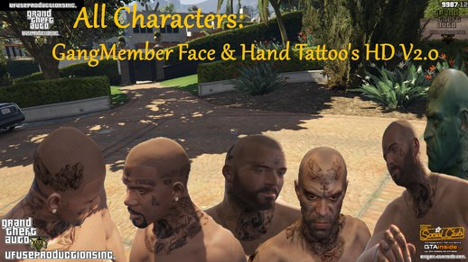 GangMember Face & Hand Tattoo's HD (All Characters) V2.0