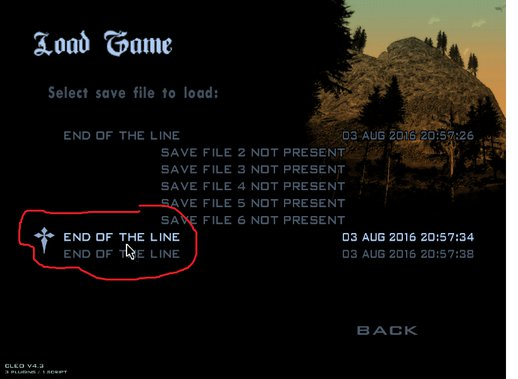 End Of The Line 100% Saved Game