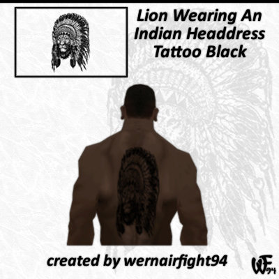 Lion Wearing An Indian Headdress Tattoo Black