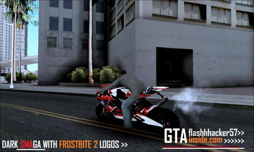 Dark Smaga Motorcycle With Frostbite 2 logos